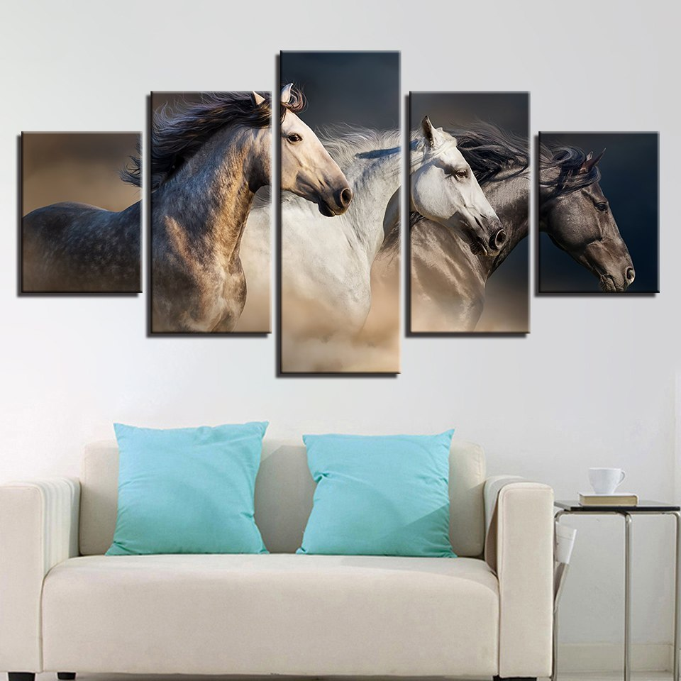 5 Panel Running Horses Modern Decor Canvas Wall Art HD Print.