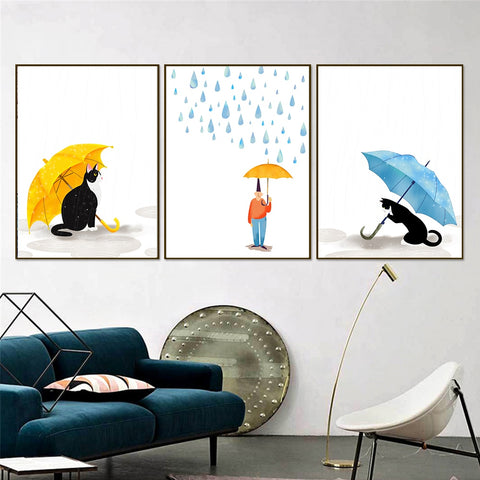 Nordic Style Watercolor Animals Kawaii Cats Rain Umbrella Modern Kids Room Canvas Wall Art HD Print