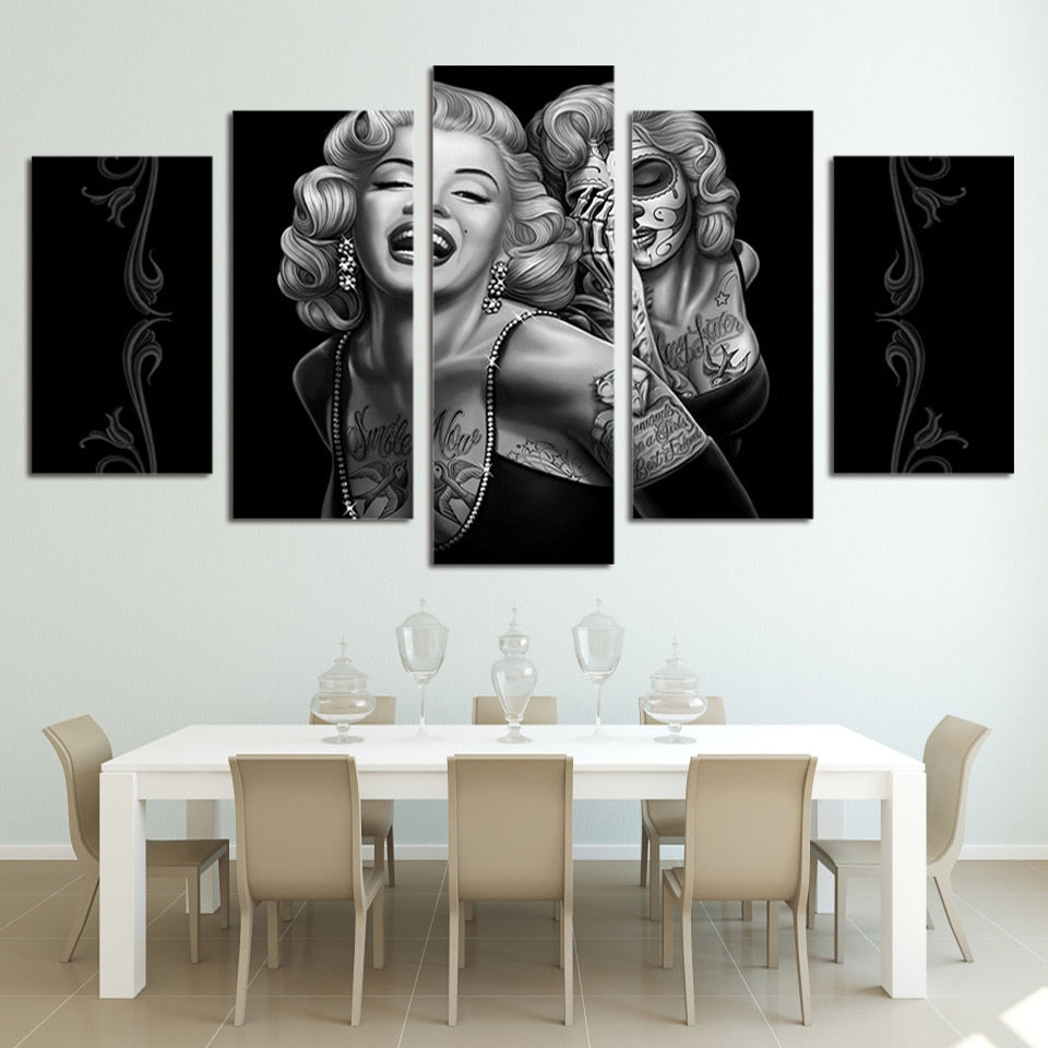 5 Panel Marilyn Monroe-Day of the Dead-Modern Decor Canvas Wall Art HD Print