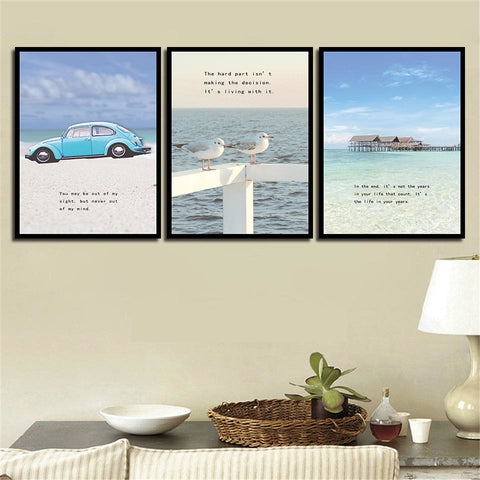 Nordic- Car- Birds-Seascape Modern Decor Canvas Wall Art HD Print