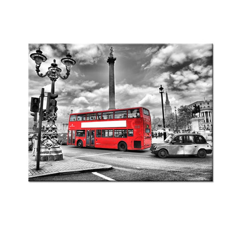 London Streetscape Red Bus Modern Decor Canvas Wall Art HD Print