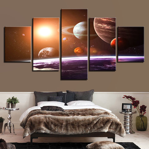 5 Panel Solar System Universe Space Planets Home Decor Canvas Wall Art HD Print