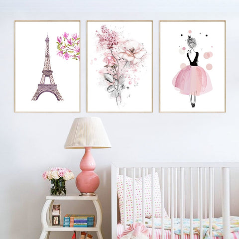 Nordic Style Pink Paris Tower Flowers And Dancing Girl Modern Kids Room Canvas Wall Art HD Print