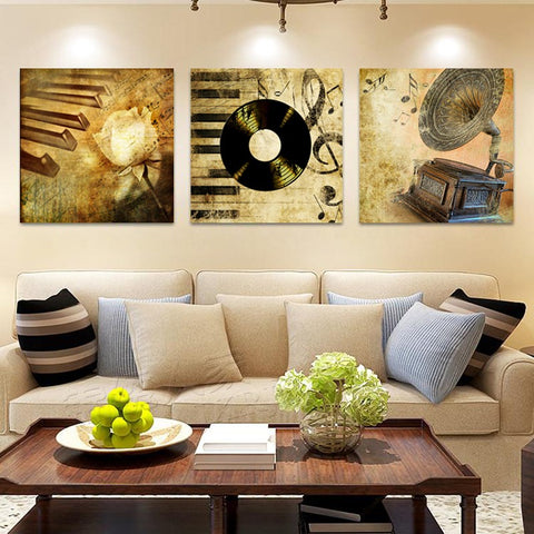 Canvas Prints Pictures Home Decor Living Room Framework 3 Pieces Vintage Flowers Music Paintings Modern Abstract Poster Wall Art
