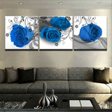 Canvas Art Prints Wall 3 Pieces Blossom Blue Rose Flowers Modern Frames For Paintings Decor Modular Picture Kids Room Poster