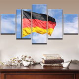 5 Panel German Flag in the Breeze Modern Décor Wall Art Canvas HD Print