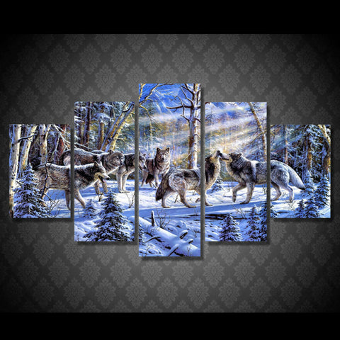 5 Panel Pack of Wolves Modern Décor Canvas Wall Art HD Print.