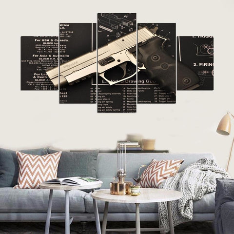 5 Panel Handgun with Gun Specs Modern Décor Wall Art Canvas HD Print