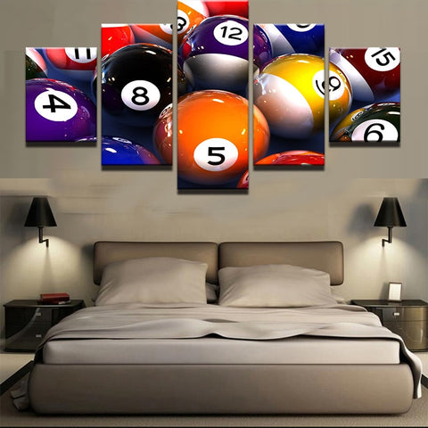 5 Panel Framed Pool Balls Modern Décor Canvas Wall Art HD Print