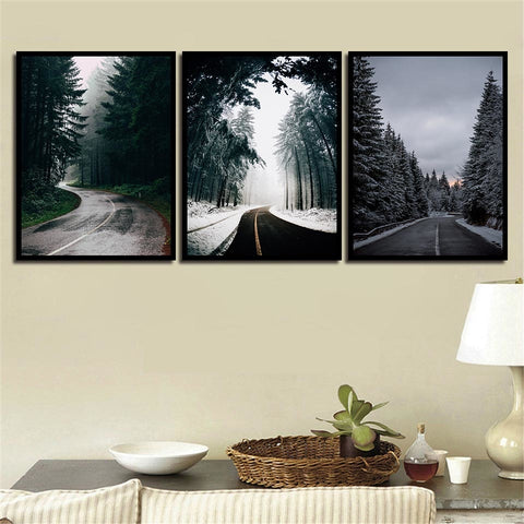 Nordic Tree Lined Road With Snow Modern Decor Canvas Wall Art HD Print