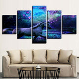 5 Panel Purple Forest Pictures Unicorn Modern Décor Canvas Wall Art HD Print.