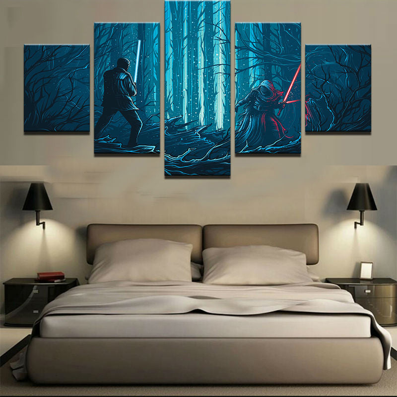 5 Panel Star Wars Light Saber Dual Modern Decor Canvas Wall Art HD Print