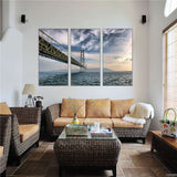 Canvas Pictures Wall Art Home Decor Framework 3 Piece Japan Akashi Kaikyo Bridge Seascape Paintings Living Room HD Prints Poster