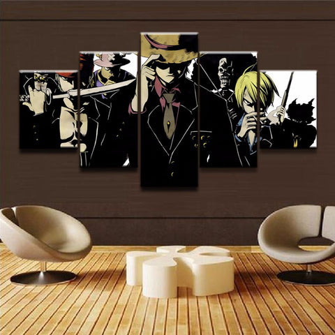 Canvas Print Painting Modular Wall Art 5 Pieces One Piece Characters Poster Cartoon Anime Pictures Living Room Home Decor Framed