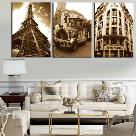 3 Piece European Building Modern Canvas Wall Art Print