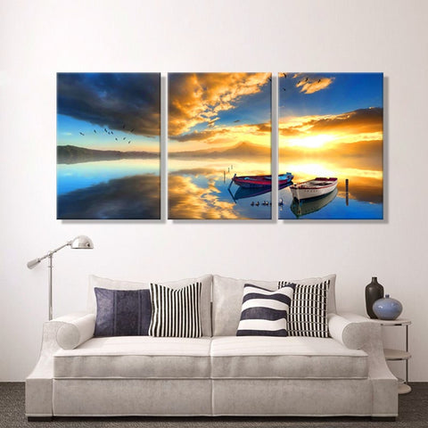 3 Pieces Sunset Boat Seascape Modern Canvas Wall Art HD Print