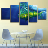 5 Panel Deep Sea Big Fish Modern Decor Canvas Wall Art HD Print