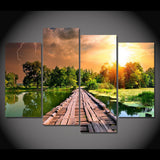 4 Panel Lake With Dock Modern Decor Canvas Wall Art HD Print