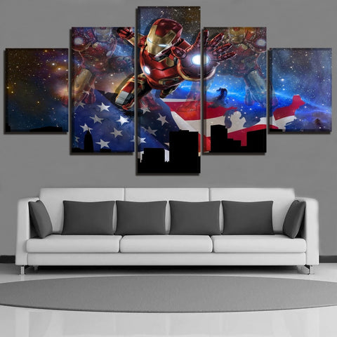 5 Panel Framed Iron Man American Flag Modern Décor Canvas Wall Art HD Print