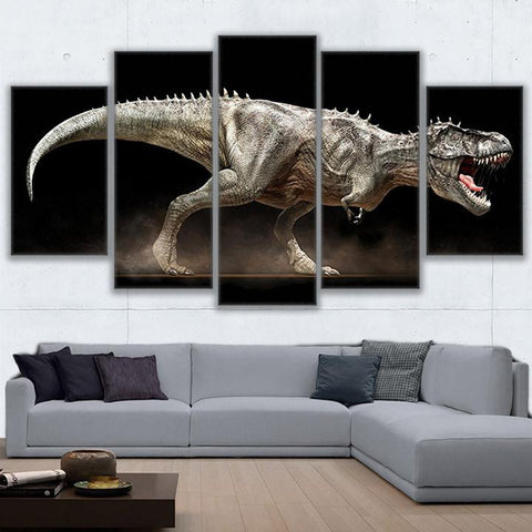 Modular Wall Art Canvas Pictures For Living Room 5 Pieces Jurassic Park Painting Home Decor Modular Angry Dinosaur Poster PENGDA