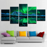 5 Panel Green Aurora Borealis Lake Hill Night Modern Decor Canvas Wall Art HD Print