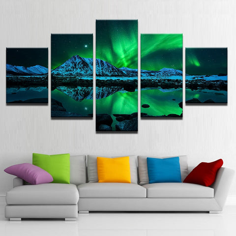 5 Pieces Green Aurora Borealis Lake Hill Night Posters Home Decor Framework
