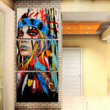 3 Panel Colorful Native American Indian Women With Feathered Headdress Modern Decor Canvas Wall Art HD Print