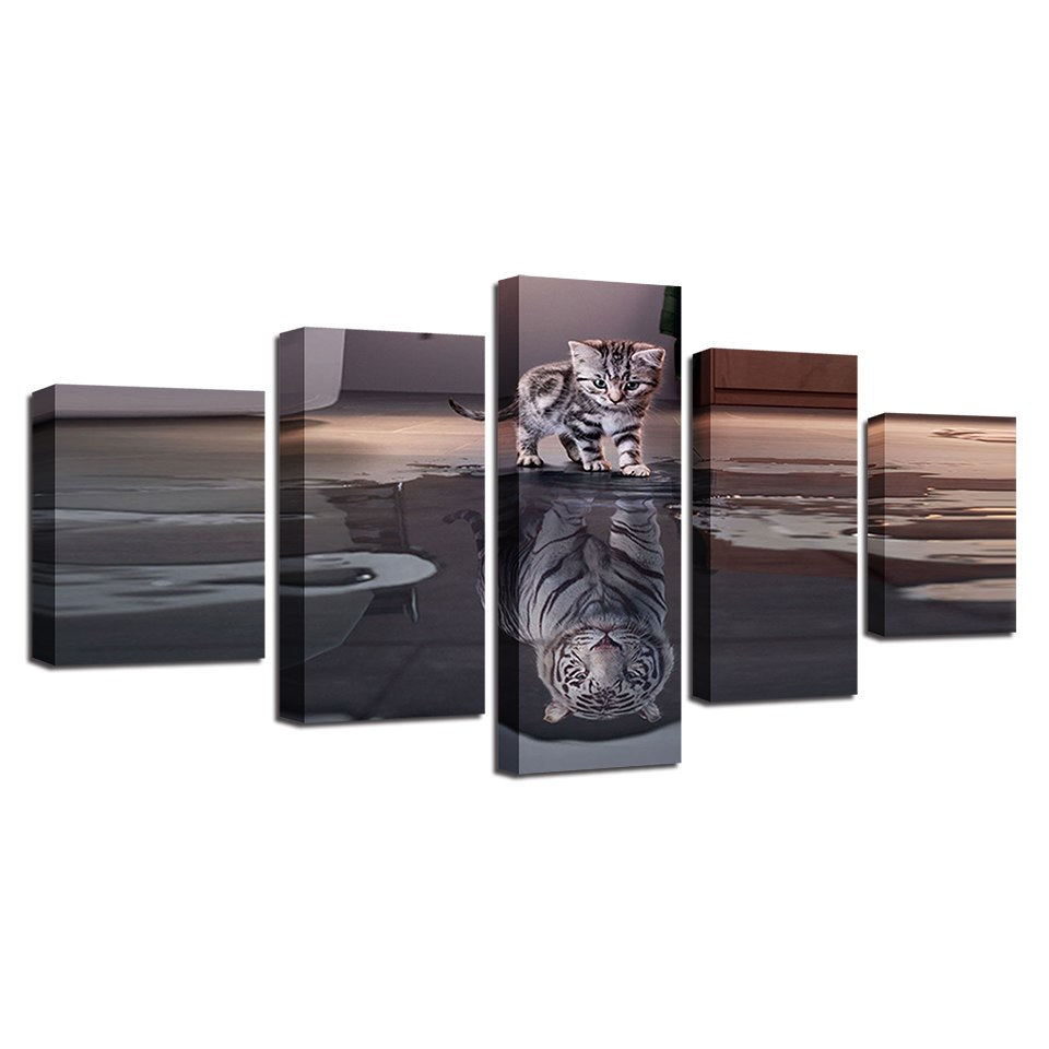 Canvas Wall Art Pictures Home Decor For Living Room Framework 5 Pieces Cats Tigers Paintings Modular HD Prints Animals Posters