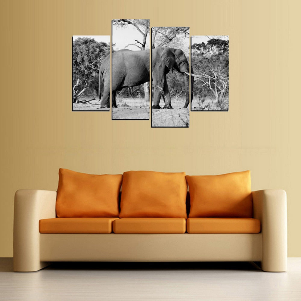 4 Panel B&W Elephant Photo Modern Décor Wall Art Canvas HD Print