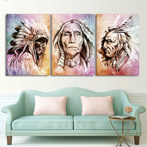 3 Panel Three Wise American Indians Modern Décor Wall Art Canvas HD Print