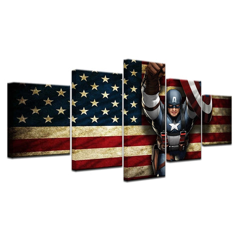 5 Panel Framed Avenger Captain America Modern Décor Canvas Wall Art HD Print