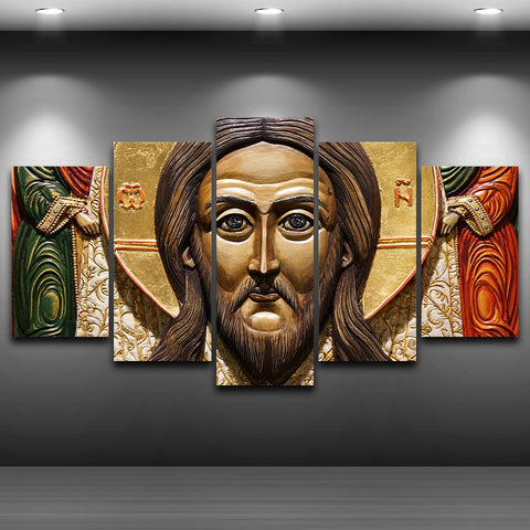 5 Panel Jesus Statues Modern Decor Canvas Wall Art HD Print Decoration