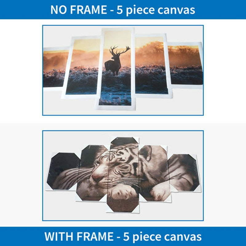 Canvas Wall Art Pictures Frame Photo Modern HD Printed Home Decor 5 Pieces Big Shark Painting Deep Blue Sea Ocean Posters PENGDA
