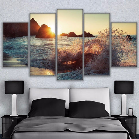 Modular Home Decor Living Room Wall Art HD Prints Poster 5 Pieces Beautiful Rocky Beach Sunset Painting Canvas Sea Wave Pictures