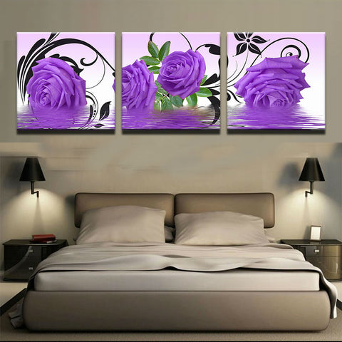 3 Panel Framed Colorful Purple Roses Modern Decor Canvas Wall Art HD Print