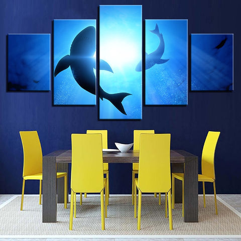 5 Panel Blue Ocean Shark Modern Décor Canvas Wall Art HD Print.