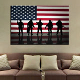American Flag With Soldiers Modern Decor Canvas Wall Art HD Print