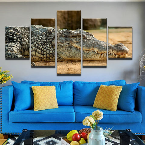 5 Pc Mighty Crocodile Modern Decor Canvas HD Print