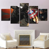 5 Panel Framed Captain America & Black Panther Modern Canvas Wall Art HD Print