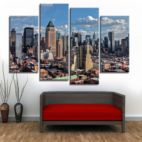 4 Panel New York City Skyline Modern Décor Wall Art Canvas HD Print
