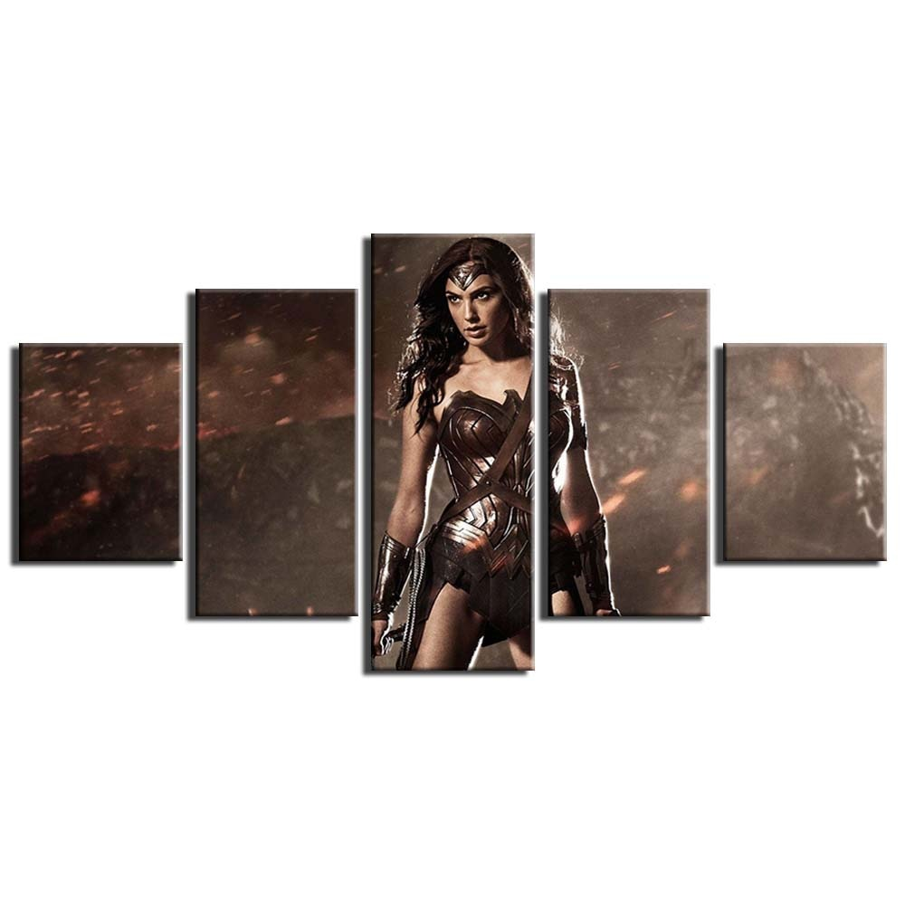5 Panel Framed Wonder Woman Modern Décor Canvas Wall Art HD Print