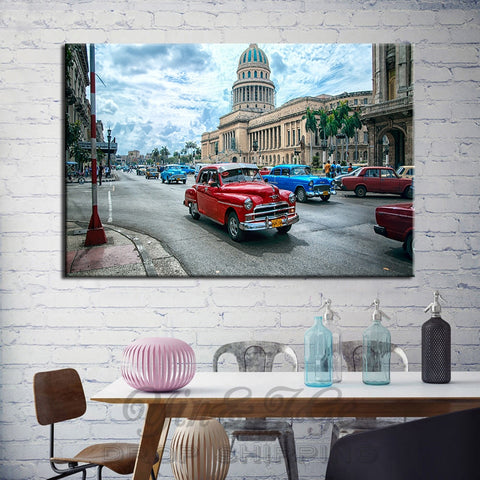 1 Piece Havana Cuba Car City Modern Decor Canvas Wall Art HD Print
