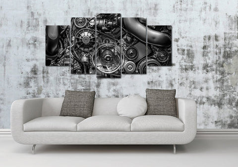 5 Panel Framed Engine Closeup Gear And Chain Black And White Modern Décor Canvas Wall Art HD Print