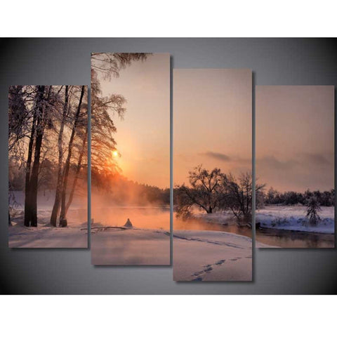4 Panel Snowy Forest Modern Decor Canvas Wall Art HD Print