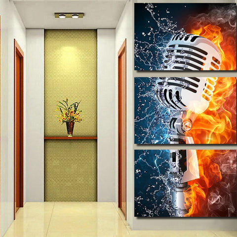 3 Piece Microphone Rock Music Modern Canvas Wall Art HD Print