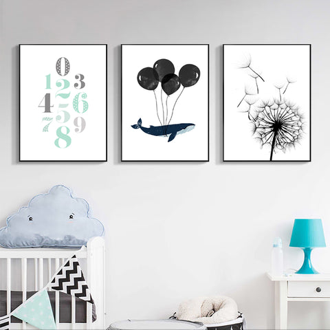 Nordic Style Whale Dandelion Balloon Modern Decor Canvas Wall Art HD Print