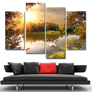 4 Panel Lake With Swan Modern Decor Canvas Wall Art HD Print