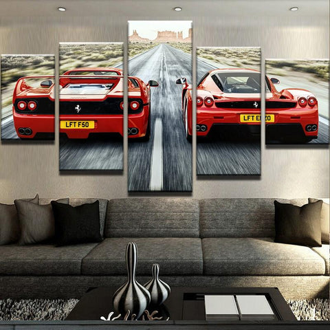 5 Panels Red Sports Cars Modern Canvas Wall Art Print