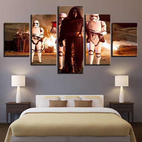 5 Panel Star Wars Kylo Ren with First Order Troopers Canvas Wall Art HD Print