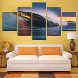 5 Panel Sunset Wave Modern Decor Canvas Wall Art HD Print